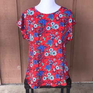 Love J Red Floral Blouse Sz XL
